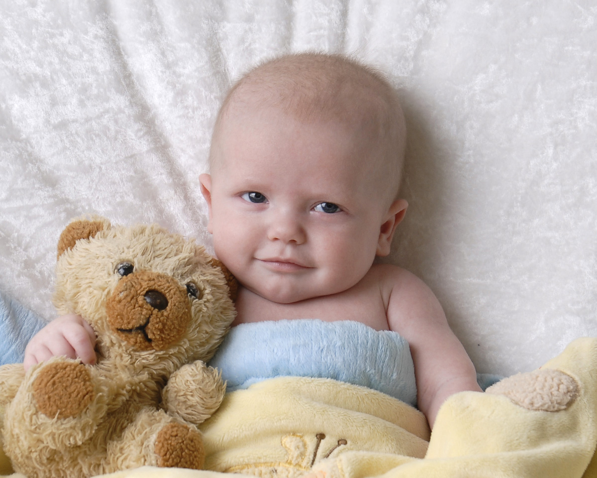 3 Month Baby Photograph Of Boy Holding Stuffed Animal Cleary