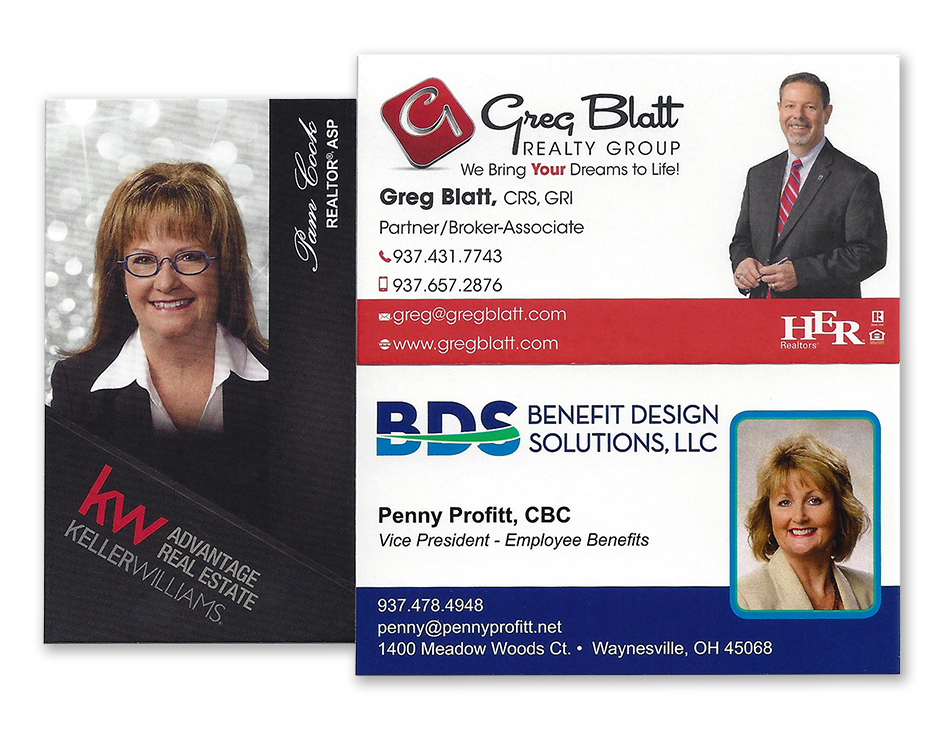 business cards with professional headshot photographs by Cleary Creative Photography in Dayton Ohio