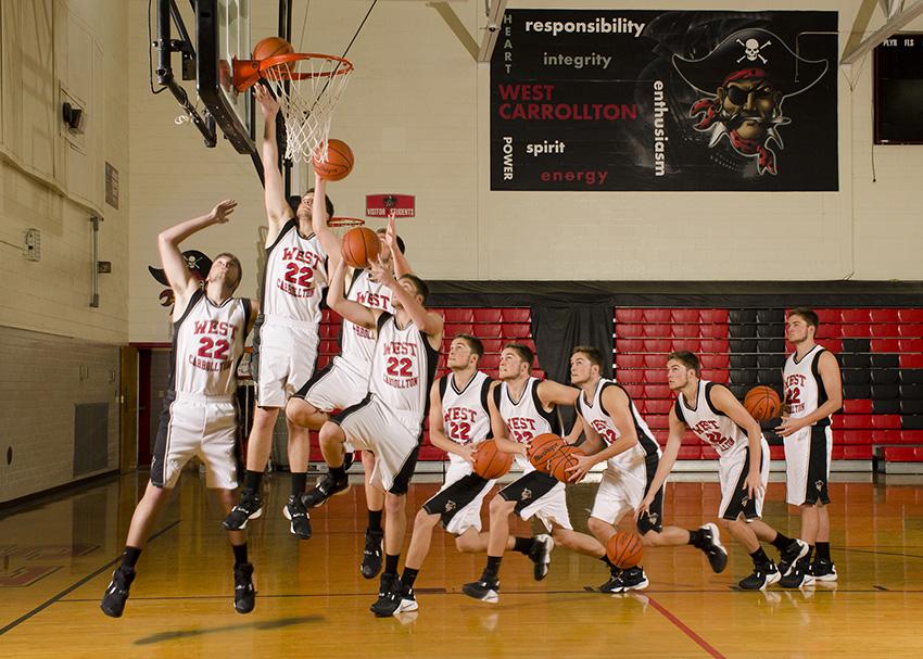 High school basketball player layup