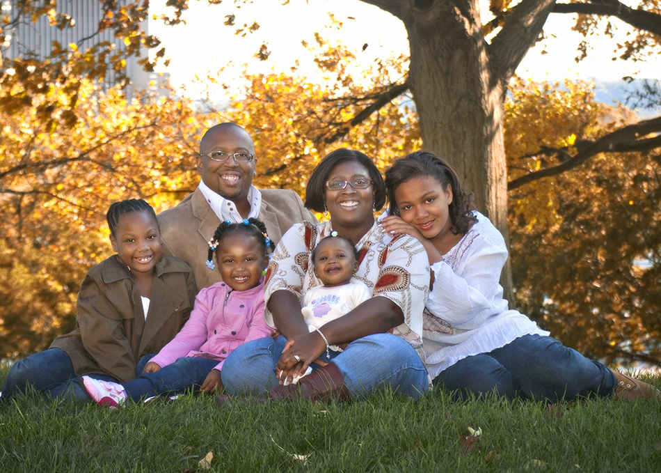 Afican American outdoor family portrait by Dan Cleary of Cleary Creative Photography in Dayton Ohio