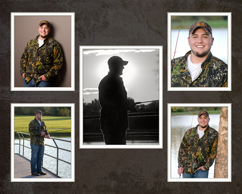 high school senior portrait of boy fishing bt Dan Cleary of Cleary Creative Photography in Dayton Ohio