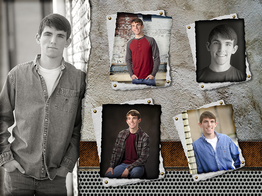high school senior boy photo montage by Cleary Creative Photography in Dayton Ohio
