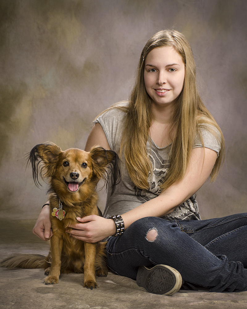 studio high school senior portrait of girl with dog by Cleary Creative Photography in Dayton Ohio