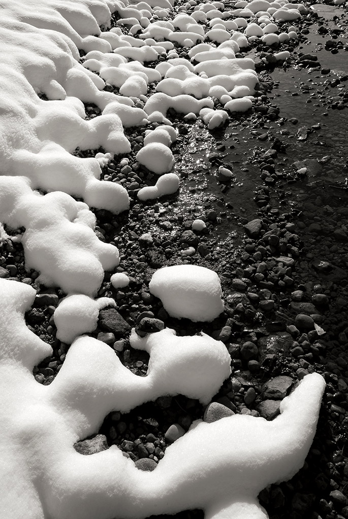 Black White Photograph Of Snow On Wolf Creek At Wesleyan MetroPark