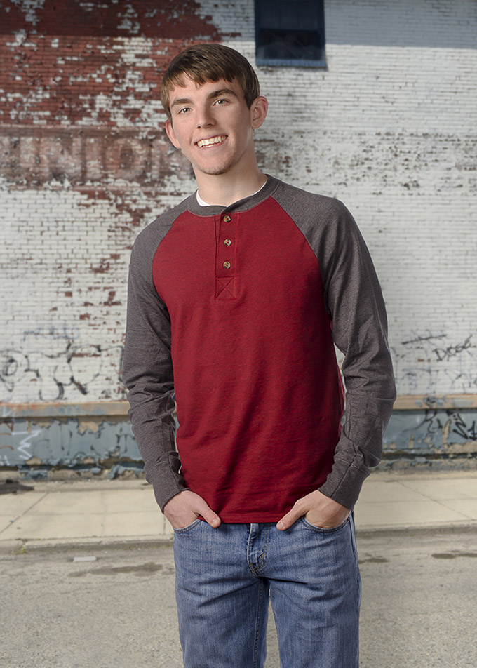 Color studio portrait of high school senior boy by Dan Cleary of Cleary Creative Photography in Dayton Ohio