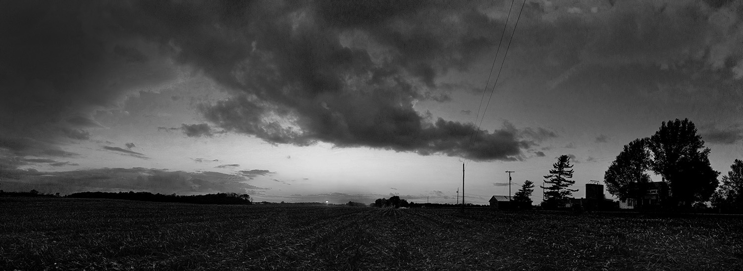 Farmer's Field At Sunset Northen Ohio fine art black and white photograph by Dan Cleary of Cleary Creative Photography in Dayton Ohio