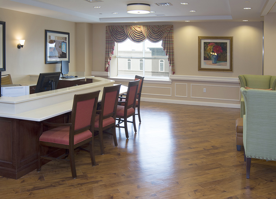 Interor photograph of retirement facility common area by Dan Cleary of Cleary Creative Photography in Dayton Ohio