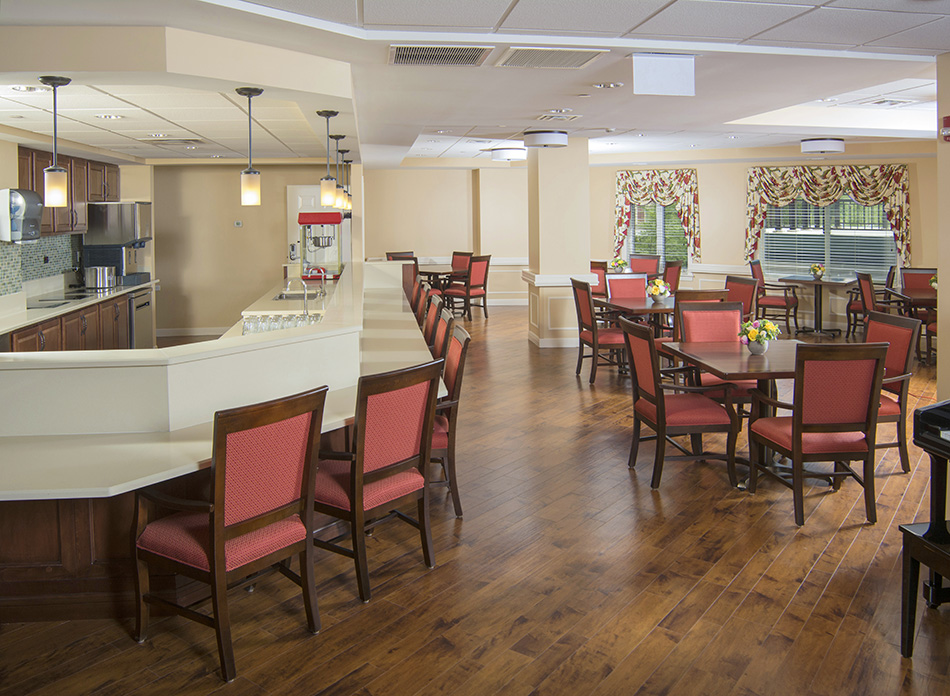 Interor photograph of retirement facility dining room by Dan Cleary of Cleary Creative Photography in Dayton Ohio