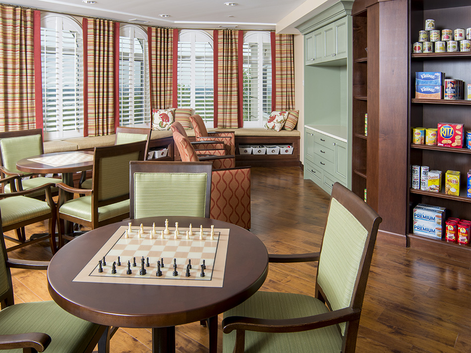 Interor photograph of retirement facility with checkerboard by Dan Cleary of Cleary Creative Photography in Dayton Ohio