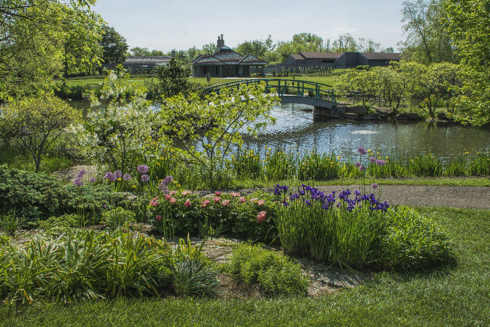 Cox Arboretum Metro Park flowers and Monet bridge by Dan Cleary of Cleary Creative Photography in Dayton Ohio
