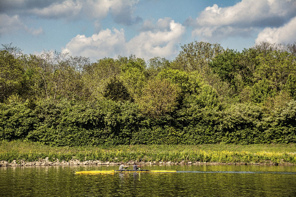 Scull rower on Miami river by Dan Cleary of Cleary Creative Photography in Dayton Ohio