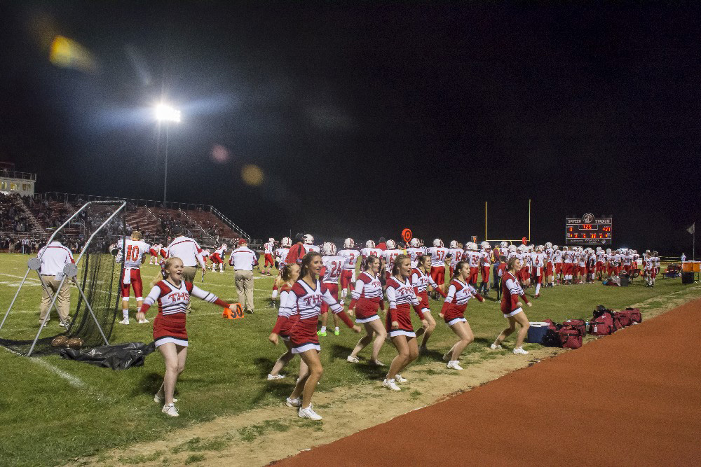 Tipp City Ohio cheerleaders at high school football game by Dan Cleary of Cleary Creative Photography in Dayton Ohio