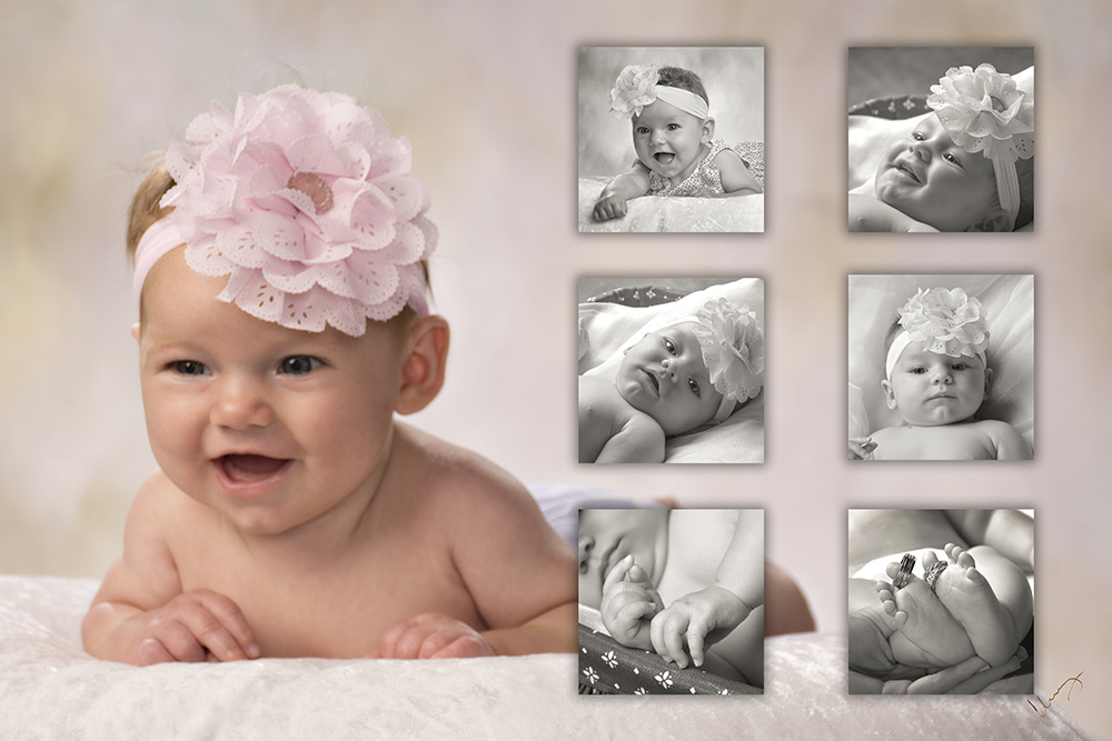 three month studio baby Cutie Kissable portrait collage by Dan Cleary of Cleary Creative Photography in Dayton Ohio