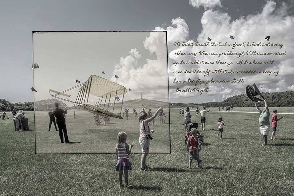 """Kite Flying"" Wright Brother Photo series by Dan Cleary in Dayton Ohio"