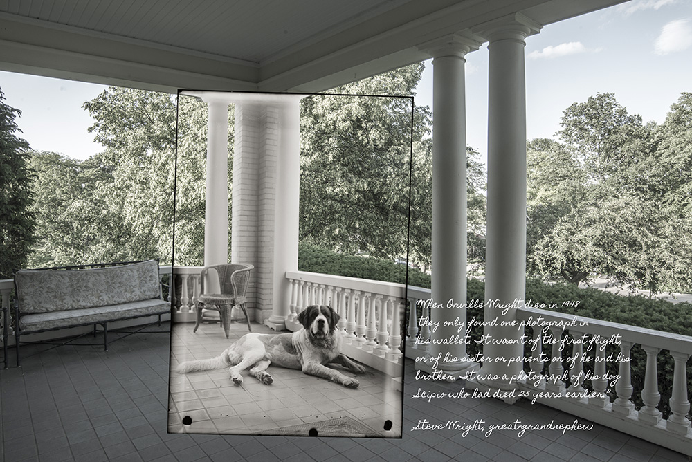 Orville Wright's dog Scipio on porch at Hawthorn Hill in Oakwood Ohio by Dan Claery of Cleary Creative Photography