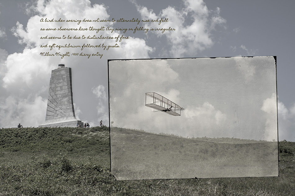 Wright Brothers Gliding From Top Of Kill Devil Hill by Dan Cleary in Dayton Ohio