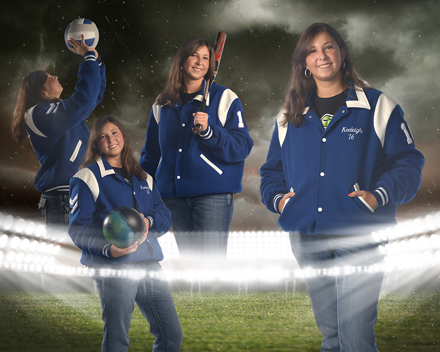 high school girl in Miamisburg letterman's jacket. by Dan Cleary of Cleary Creative Photography in Dayton Ohio
