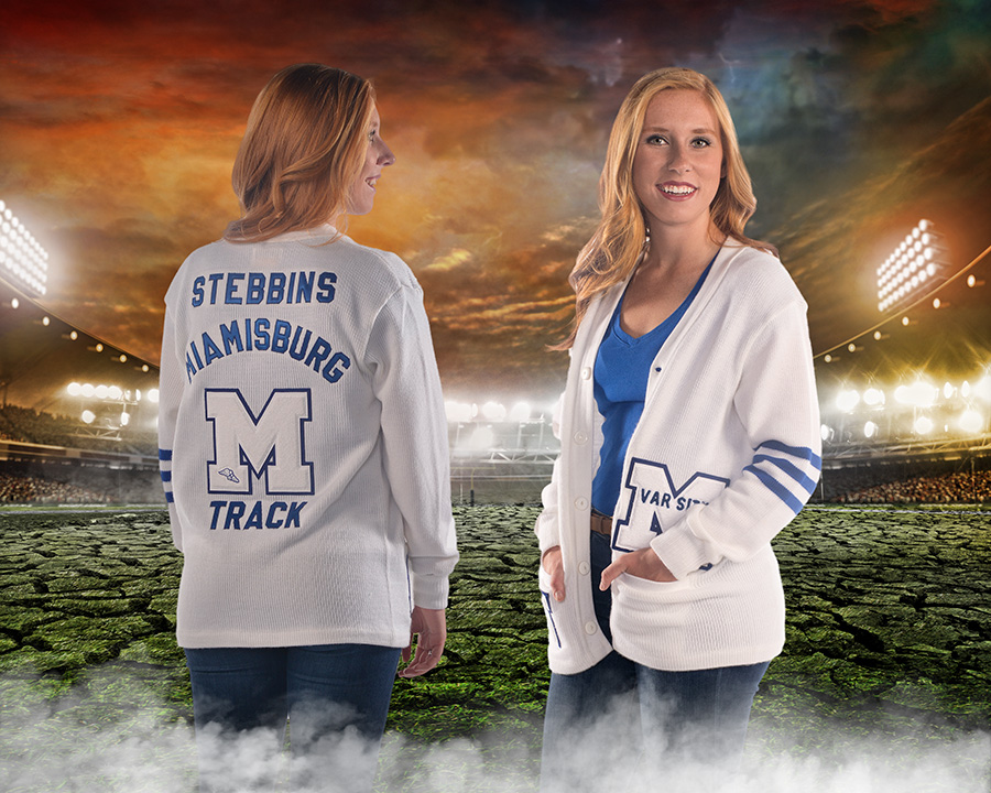 high school girl in Miamisburg letterman's sweater by Dan Cleary of Cleary Creative Photography in Dayton Ohio