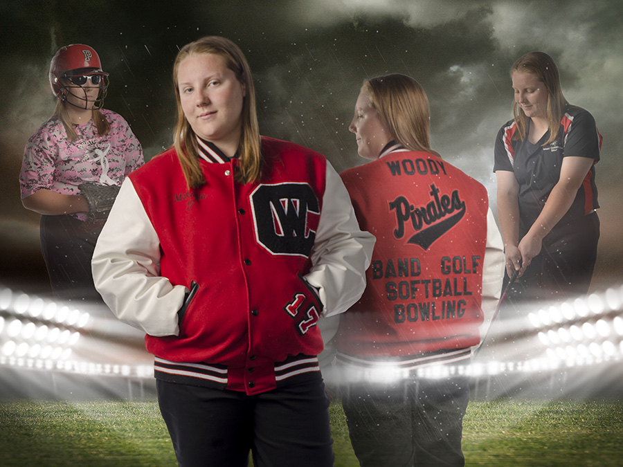 high school girl in West Carrollton letterman's jacket. by Dan Cleary of Cleary Creative Photography in Dayton Ohio
