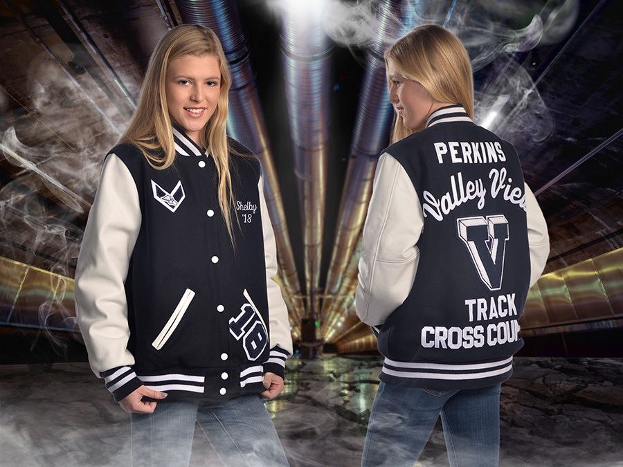 high school girl in Valley View letterman's jacket by Dan Cleary of Cleary Creative Photography in Dayton Ohio